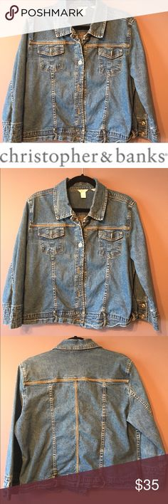 """♨️♨️ Christoper & Banks Stretch Denim Jean Jacket Great condition.  Approx measurements: 22.5"""" length, 21.5"""" chest, 20"""" sleeve from shoulder. 6"""" wrists. 98% cotton, 2% spandex. Machine wash cold, tumble dry low. Christopher & Banks Jackets & Coats Jean Jackets"""