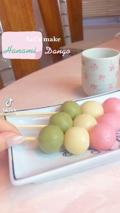 Japanese Snacks, Japanese Sweets, Japanese Food, Snack Recipes, Dessert Recipes, Cooking Recipes, Dango Recipe, Cute Bakery, Cute Desserts