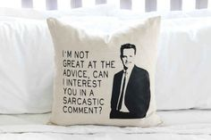 "19 Amazing Gifts For Anyone Who Likes ""Friends"" This chandler pillow from etsy!!"