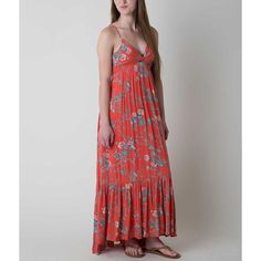 Billabong Dream Escape Maxi Dress ($50) ❤ liked on Polyvore featuring dresses, red, high low maxi dress, red maxi dress, maxi dresses, v neck maxi dress and high low dresses