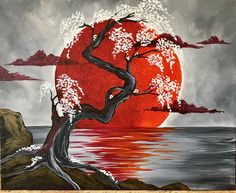 Japanese Crimson Moon @ Pinot's Palette Woodmere (Cleveland Paint and Sip Art Studio) - This contemporary picture with its deep crimson moon and delicate flowers is surreal. Japanese Artwork, Japanese Painting, Japanese Wall, Japon Illustration, Paint And Sip, Japan Art, Cool Paintings, Deep Paintings, Tree Art