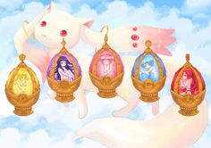 Madoka Magica Soul Gems | I like how Sayaka's is a mermaid and the rest of them aren't.