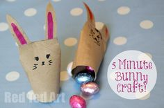 DIY Easter : DIY Quick Toilet Paper Roll Bunnies - East Crafts for Kids