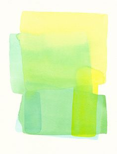 original watercolor painting, modern forms, soft structure in greens and yellow   malissas place etsy