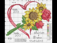 Cross-stitch Ribbon Heart with Roses & Sunflowers...     S