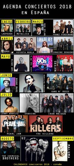 #Conciertos2018 AGENDA MUSICAL 2018: SÚPER CONCIERTOS EN ESPAÑA, ¡que no te puedes perder este año!  #musica #music #brunomars #festival #agenda2018 #conciertos #españa #spain #ocio #madrid #barcelona #infografia #ladygaga #maluma #shakira