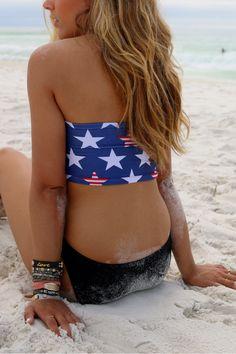 Sun Kissed Stars & Stripes Patriotic USA Bikini Tube Top