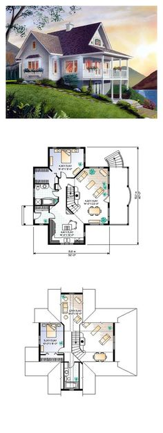 Lakefront Style COOL House Plan ID: chp-6807   Total Living Area: 1480 sq. ft., 2 bedrooms & 2 bathrooms. The steep-pitched roof with the aura of an A-frame triggers vacation mode. Double porches with slender pillars interact beautifully with the great outdoors. Inside, a bounty of significantly sized windows and sleek doors with bright sidelights draw the natural light and magnify the view. #houseplan #lakefront