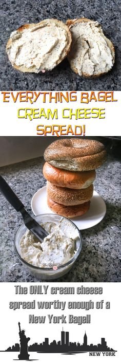 The ONLY Everything Bagel Cream Cheese spread worthy of a New York Bagel! Plus this is awesome as a veggie dip, stuffed in chicken or used as a condiment! Bagel Dip, Bagel Breakfast Sandwich, Breakfast Recipes, Lox And Bagels, Best Bagels, Cold Dip Recipes, Yummy Recipes, Blueberry Bagel, Vegan Bagel
