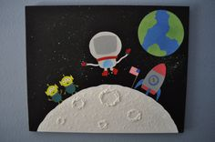Personalized Space Canvas!  Adorable kids room or baby's room decor!