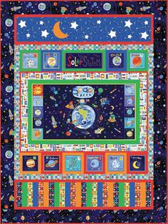 Jill mcdonald out of this world quilt quilts and for Solar system fabric panel