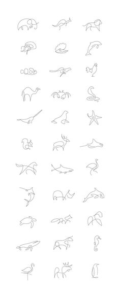 Tiny Tattoo Idea - Minimalist One Line Animals By A French Artist Duo - Art - Tattoo Designs For Women One Line Animals, Handpoke Tattoo, Beste Tattoo, Animal Logo, Tattoo Animal, Small Animal Tattoos, Cheetah Tattoo, Small Fish Tattoos, Piercing Tattoo