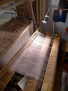The painstaking work of threading a loom. Threading, Loom, Hand Weaving, Lamps, Stairs, Studio, Interior, Design, Home Decor