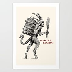 Gruss vom Krampus Stationery Cards by Andrew Henry - Set of 3 Folded Cards x Germany Tattoo, Scary Photos, Traditional Tattoo Flash, Feminist Art, Folded Cards, Canvas Art Prints, Line Art, Coloring Books, Just For You