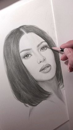 Pencil portrait of Kim Kardashian.-Pencil portrait of Kim Kardashian. The work is not finished yet, I'll give Kim a few more marks. Plus there's a younger sister awaiting her turn. Girl Drawing Sketches, Pencil Art Drawings, Realistic Drawings, Easy Drawings, Sketch Art, Woman Drawing, Indie Drawings, Pencil Sketch Portrait, Woman Sketch