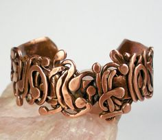 Copper Cuff Bracelet- Hammered Copper Cuff, Womens Copper, Free Form Forged Copper Antique Patina, - Scrolling Wood Vine
