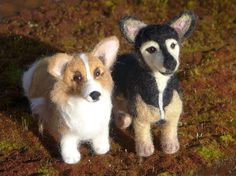 SALE 2 Needle Felted Dogs / Custom Felt Miniature by GourmetFelted