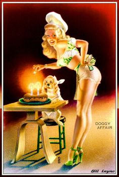 "Baker Pinup Girl with Dog | Tattoo Ideas & Inspiration - Pinups | Bill Layne - ""Doggy Affair"""