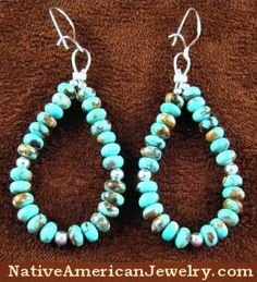 Native American Jewelry | Turquoise Jewelry | Kingman Turquoise Earrings | Bead Earrings