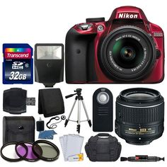 Nikon D3300 24.2 MP CMOS Digital SLR Body (Red) + Nikon AF-S DX NIKKOR 18-55mm VR II Lens + Transcend 32GB SDHC Memory Card + SLR Case + UV Filter Kit + Great Accessory Bundle (Certified Refurbished). This Certified Refurbished product is tested and certified to look and work like new. The refurbishing process includes functionality testing, basic cleaning, inspection, and repackaging. The product ships with all relevant accessories, a minimum 90-day warranty, and may arrive in a generic...