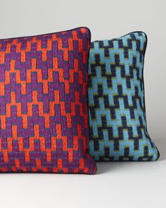 Bargello Stepped Chevron Pillow by Jonathan Adler at Horchow.