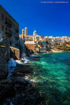 Beautiful Ermoupolis, capital of Syros island, Cyclades, Greece Places Around The World, Oh The Places You'll Go, Places To Travel, Places To Visit, Around The Worlds, Mykonos, Santorini Greece, Dream Vacations, Vacation Spots