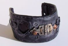 Unhinge Me Steam Punk Faux Leather Cuff by Trinketalley on Etsy, $65.00