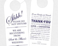 Wedding Door Hanger (SET OF – Thank You Door Hanger for Wedding Hotel Welcome Bag – Welcome Bag Tag for Wedding Guest – Destination Wedding Welcome Bags