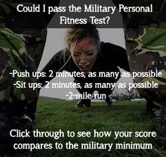 you pass the military boot camp fitness test? try the workout and click through to see how you compare!could you pass the military boot camp fitness test? try the workout and click through to see how you compare! Military Workout, Military Training, Military Diet, Army Workout, Marine Workout, Navy Training, Military Cross, Military Quotes, Military Girlfriend
