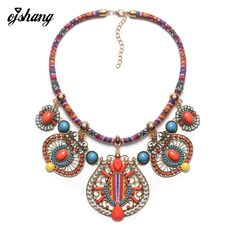 Fashion Bohemian Necklaces Pendants Women 2016 Boho Tribal Jewelry Maxi Choker Rope Chain Collar Ethnic Collier Femme Accessory