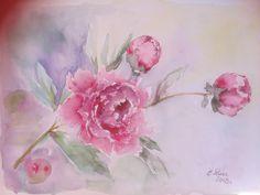 Watercolor by Ela Rusu Facebook Sign Up, Peonies, Watercolor, Painting, Pen And Wash, Watercolor Painting, Watercolour, Painting Art, Paintings