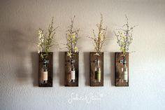 Wine Bottle Wall Vase / Set of Four - Rustic Modern Decorations - Wine Decor - Wine Bottle Holders - Wine Bottle Set - Farmhouse Chic Style