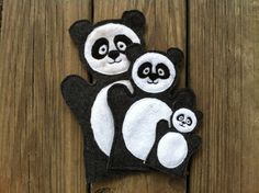 Panda  Animal Felt Hand AND Finger Puppet  by ThatsSewPersonal, $18.00