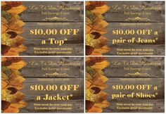 Stop by La Ti Da Boutique and check out all of our new fall clothing, accessories and footwear. And now thru September 30th we have four coupons to help you build your fall wardrobe! *Excludes prior purchases See you soon Shelley and the staff at La Ti Da Boutique  850 East Western Reserve Road Poland, Ohio 44514 330.758.9900  Store hours: Monday - Friday 10-6, Saturday 10-4, closed on Sunday