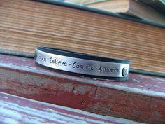 www.MyBellaMarketplace.com  #MyBellaMarketplace  Dream Believe Commit Achieve Custom Hand Stamped 1/2 Inch Leather Cuff Bracelet by MyBella