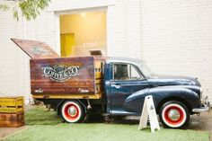 Classic Coffee Co. Vintage truck with a rustic timber box tray fit out. Coffee Van, Coffee To Go, Coffee Love, Coffee Shop, Big Trucks, Pickup Trucks, Mobile Shop, Mobile Cafe, Coffee Fonts