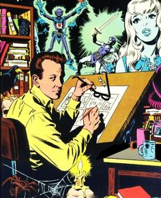 Artist Wally Wood at the drawing table - self-portrait.