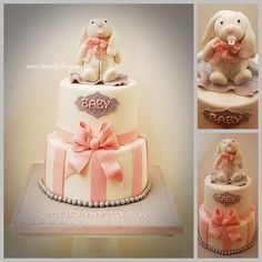 SomeBUNNY to LOVE! - I loved making this Baby Shower Cake. I was asked to incorporate a Bunny theme into the baby shower cake for a girl. I thought the pink, white and grey would be so cute and I LOVE how this turned out. When I dropped it off this morning it matched her decor so well too. Congratulations Kirsten and a big Congrats to the soon to be first time grandma too! Rabbit Baby, Baby Bunnies, Themed Cakes, Baby Cakes, Girl Cakes, Baby Shower Cakes, Cupcake Cakes, Cupcakes, Grey Baby Shower