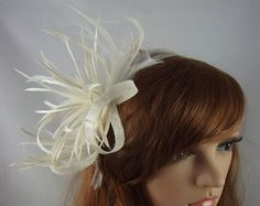 22945784223a5 Navy Dark Blue Leaf Sinamay Fascinator with Feather Flower - Hat Wedding  Races