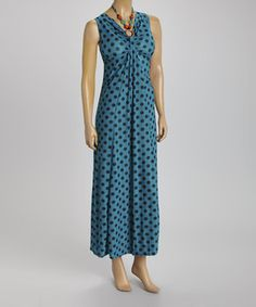 Loving this BellaBerry Teal Dot Embellished Sleeveless Dress on #zulily! #zulilyfinds