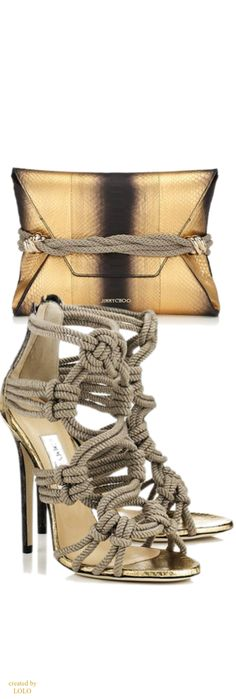 Jimmy Choo. Cool! I can't walk in anything over 2 inches so high heels are not in my closet, but I can admire from afar. (As a reflexologist I can say that they are bad for your feet, but I don't want to spoil this moment.)