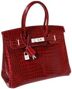 The Birkin In 2011, a red crocodile 30 cm size Hermes Birkin bag with 18 carat white gold and diamond hardware was sold at a public auction in Dallas for $203,150. The average new Birkin costs around $8,000 -- that is, if you have the patience and funds to stand the long waiting list.