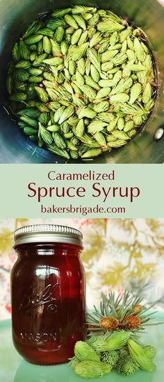 Caramelized Spruce syrup A yummy winter wild edible, a gorgeous and unique gift. Edible Plants, Edible Flowers, Herbal Remedies, Natural Remedies, Spruce Tips, Wild Edibles, All Nature, Canning Recipes, Canning Tips
