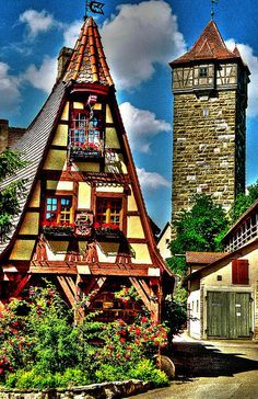 The quaint town of Rothenburg, in the district of Ansbach of Mittelfranken (Middle Franconia), the Franconia region of Bavaria, Germany. It is well known for its well-preserved medieval old town, and forms part of the popular Romantic Road through southern Germany.