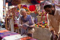 Judy Dench in The Best Exotic Marigold Hotel movie, those colors are to die for!