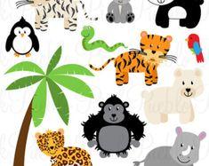 Caras animales Clipart Clip Art zoológico selva por PinkPueblo