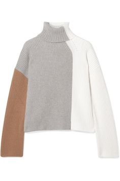 Ivory, gray and tan cashmere Slips on cashmere Machine wash Made in Italy Style Minimaliste, Cashmere Turtleneck, How To Purl Knit, Knit Fashion, Minimal Fashion, Sweater Weather, Fashion Sketches, Lounge Wear, Knitwear