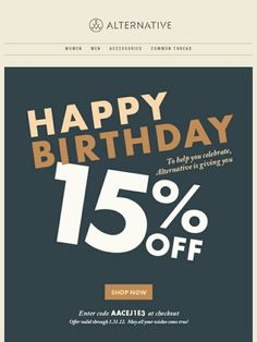 Here's A Gift for You - Alternative Apparel Alternative Apparel, Alternative Outfits, Happy Birthday Email, Newsletter Design, Post Date, Email Campaign, Email Templates, Email Design, Sale Poster