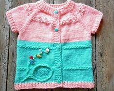 Blue White Baby Boy Hand Knitted Vest 12-18m Cute by SvetlanaVP