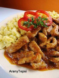 AranyTepsi: Borsos tokány Hungarian Cuisine, Hungarian Recipes, Hungarian Food, Pork Dishes, Food 52, My Recipes, Entrees, Bacon, Paleo